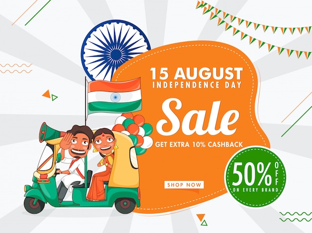 Sale poster  with best discount offer, ashoka wheel, indian auto driver and woman doing namaste on white rays background.