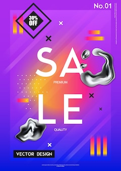 Sale poster with discount percentage and chrome drips in realistic style