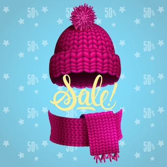 Sale poster with hat and scarf