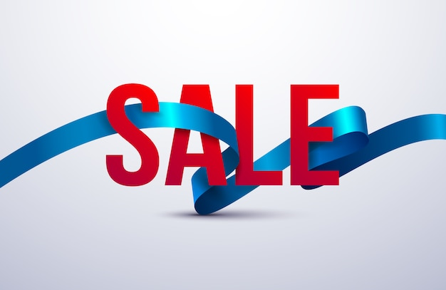 Sale poster with ribbon and ribbon