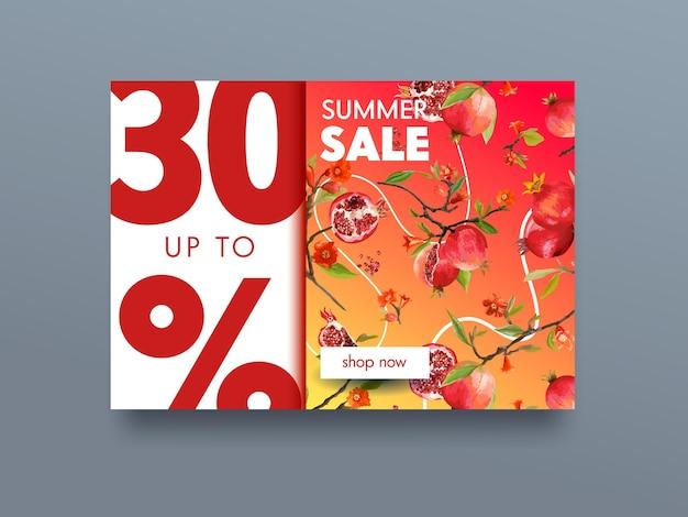 잘 익은 석류 과일, 꽃과 나뭇가지에 잎 판매 포스터. 가넷 유기농 천연화장품, 농장건강식품기업 브랜드. 자연 개념 배너 전단지 디자인입니다. 벡터 일러스트 레이 션
