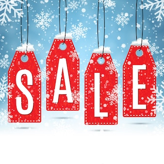 Распродажа ценники на зимнем фоне