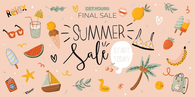 Sale print with beautiful summer background and trendy lettering. good template for web, card, poster, sticker, banner, invitation, flyers