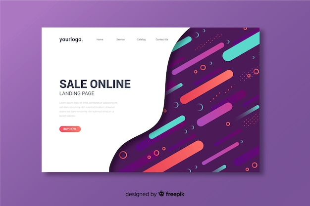 Sale products online abstract landing page