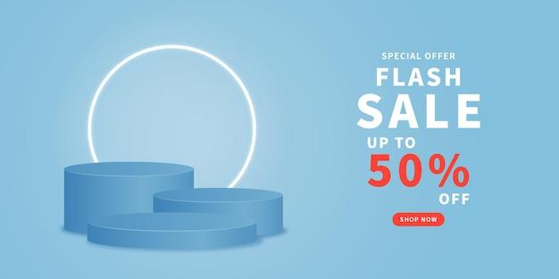 Sale promotion banner design with podium vector empty cylinder podium on blue background