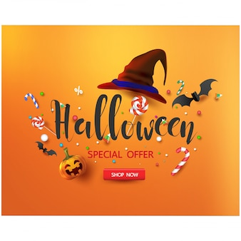 Sale promotion banner with halloween candy and halloween hat