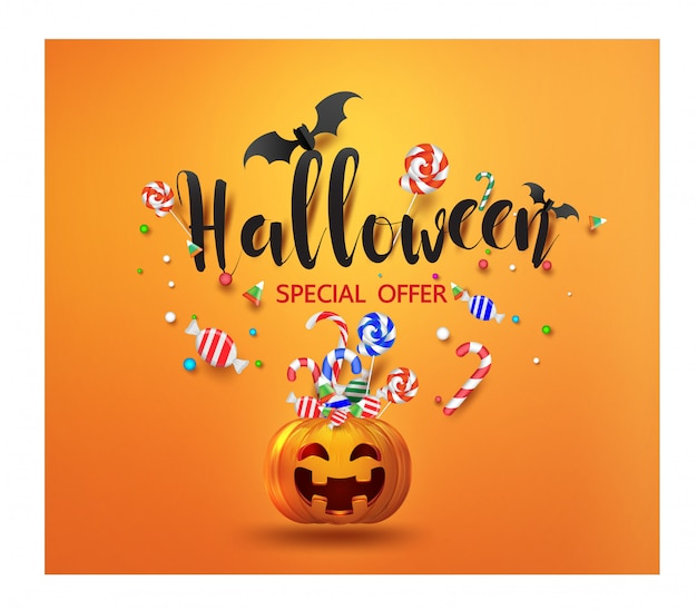 Sale promotion banner with halloween candy and smiling halloween pumpkin