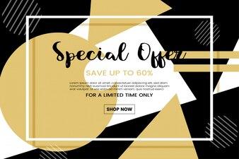 Sale promotion concept with memphis background