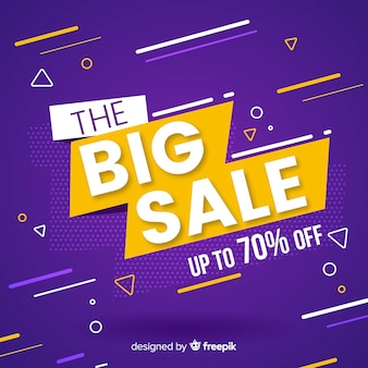Sale promotion flat purple background