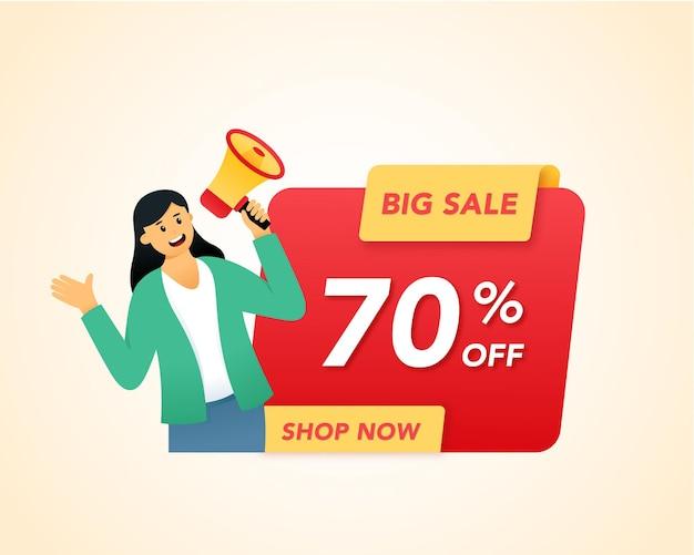 Концепция иллюстрации продвижения продаж с женщиной, держащей мегафон