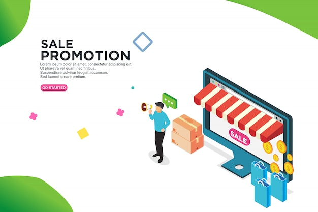 Sale promotion isometric design concept - vector