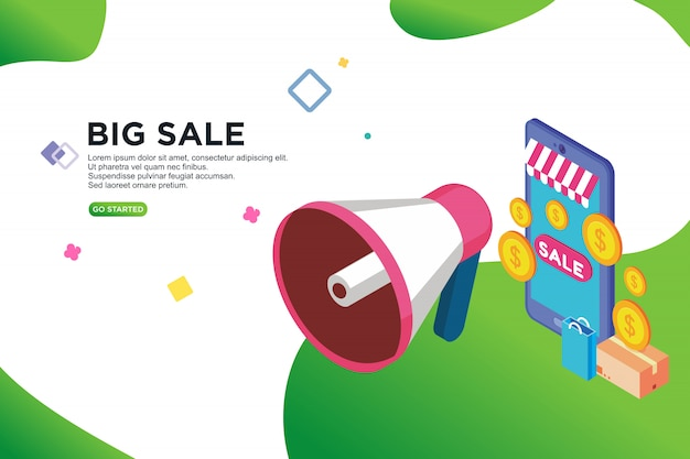 Sale promotion isometric design