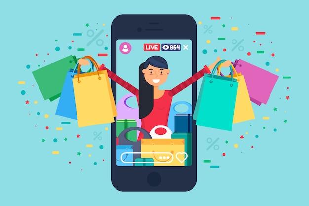 판매 촉진 온라인 방송 개념 그림