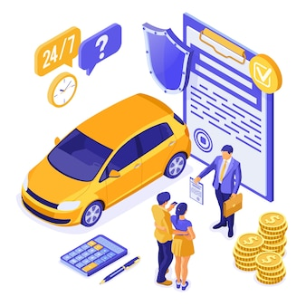 Sale, purchase, insurance, rent car isometric for landing, advertising with car, couple with credit card, realtor, insurant, support.
