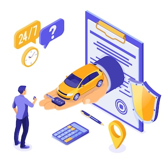 Sale, purchase, rent car isometric concept for landing, advertising with car on hand, man with credit card, key, 24h support. auto rental, carpool, carsharing, insurance. isolated