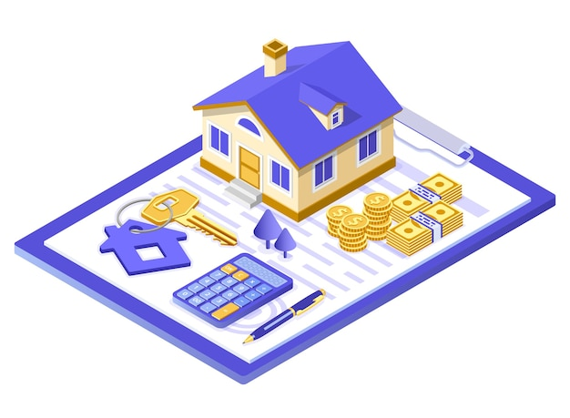ポスターの販売、購入、賃貸、住宅ローンの家の等尺性の概念