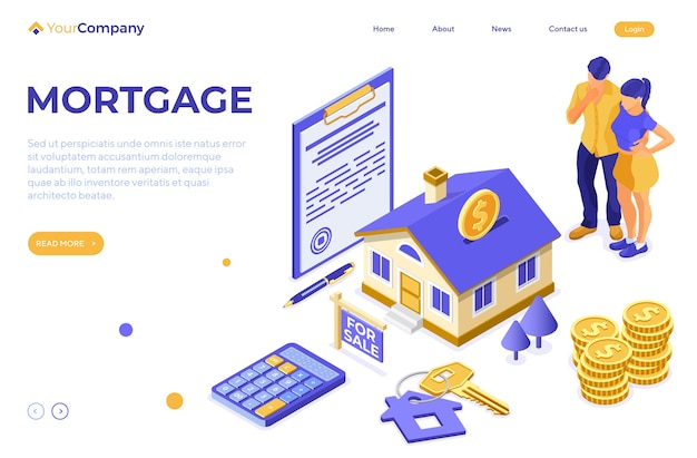 Sale, purchase, rent, mortgage house isometric concept with home as money box, key, for sale sign, family is thinking invests money in real estate. landing page template.