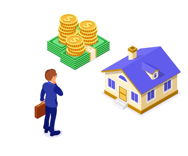 Sale purchase rent mortgage house isometric concept with home and money and businessman with briefcase thinking invests money in real estate