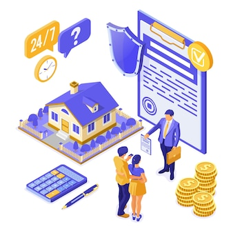 Sale, purchase, rent, mortgage, insurance house isometric concept, banner with home