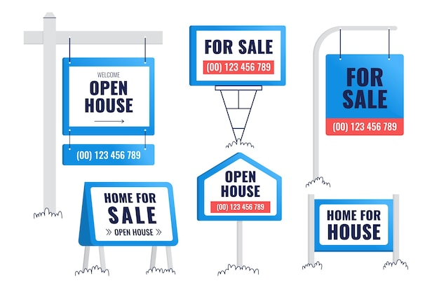 Sale real estate signs set