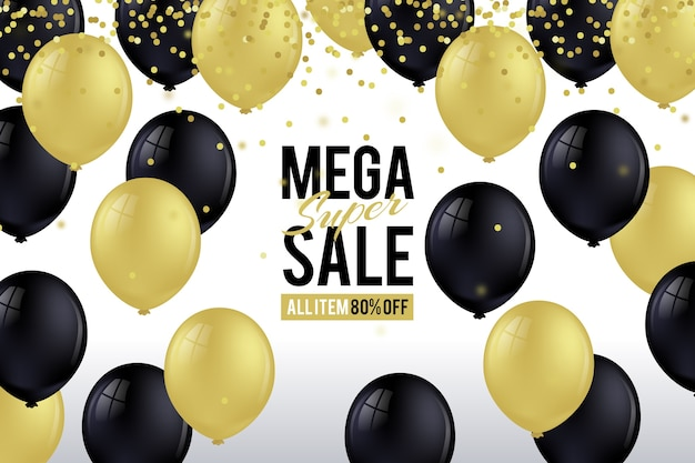 Sale realistic background with balloons
