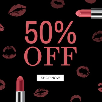Sale red banner female lipstick