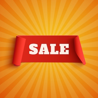 Sale, red banner on orange background with light rays.