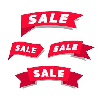 Sale red ribbon label. promotion banner vector.