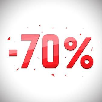 セール貯蓄ラベル。 3d価格セールタグ。 70%セール。