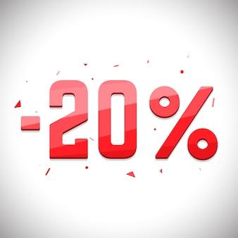 セール貯蓄ラベル。 3d価格セールタグ。 20%セール。