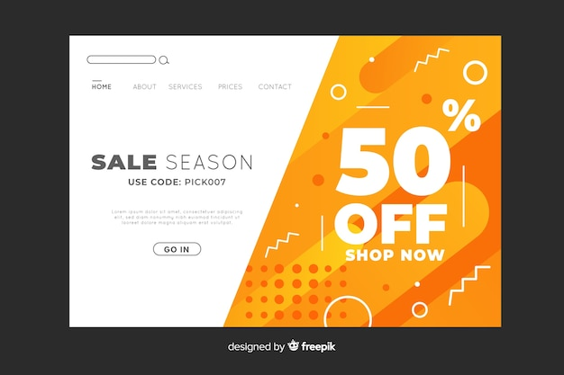 Sale season abstract landing page