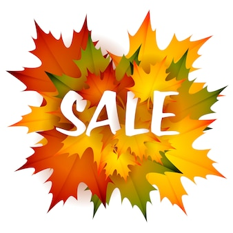 Sale seasonal leaflet design with heap of leaves