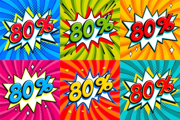 Sale set. sale eighty percent 80 off tags on a comics style bang shape background. pop art comic discount promotion banners.