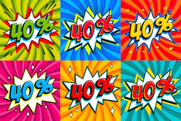 Sale set. sale forty percent 40 off tags on a comics style bang shape background. pop art comic discount promotion banners.