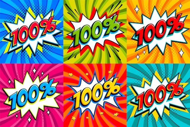 Sale set. sale one hundred percent 100 off tags on a comics style bang shape background. pop art comic discount promotion banners.