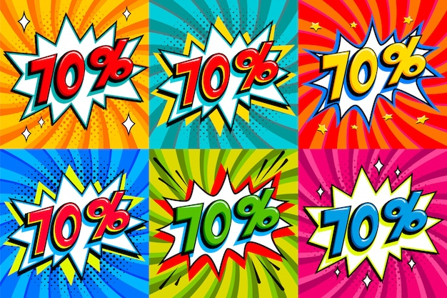 Sale set. sale seventy percent 70 off tags on a comics style bang shape background. pop art comic discount promotion banners.