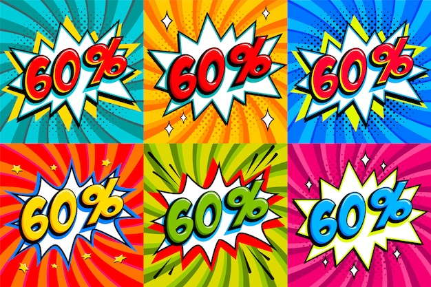 Sale set. sale sixty percent 60 off tags on a comics style bang shape background. pop art comic discount promotion banners.