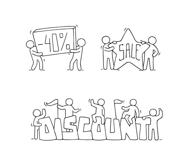 Продажа набор с рабочими человечками. doodle милые миниатюрные сцены рабочих со скидочными баннерами. ручной обращается мультфильм векторные иллюстрации для бизнеса и маркетингового дизайна.