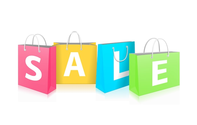 Sale on shopping bags isolated