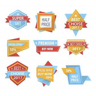 Sale and shopping price discount vector tags