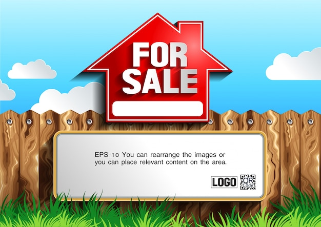 For sale sign vector illustration with text template