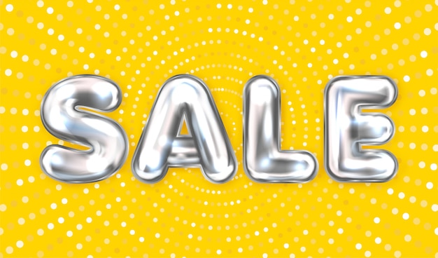 Sale silver lettering on the yellow