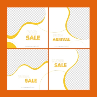 Sale social media post set with copy space in white and yellow color.