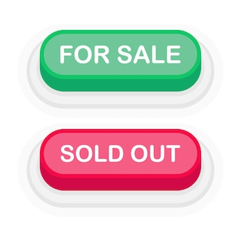 For sale or sold out green or red 3d button in flat style isolated on white background. vector illustration.