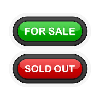 For sale or sold out green or red realistic 3d button isolated on white background. hand clicked. vector illustration.