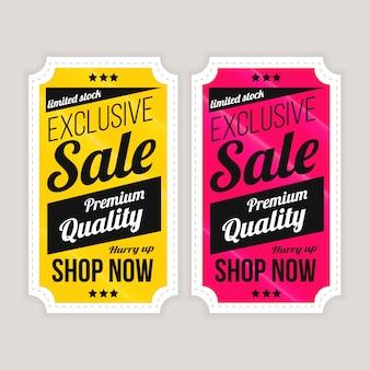 판매 특별 제공 및 가격표 지금 쇼핑 레이블 패키지 디자인 프리미엄 벡터