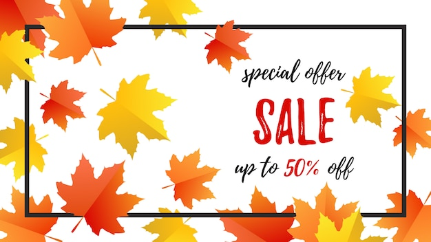 Sale special offer autumn banner template with autumn leaves in flat style
