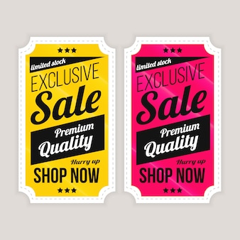Sale special offer and price tags shop now label package design