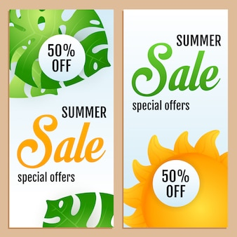 Sale, special offers letterings set with tropical leaves and sun
