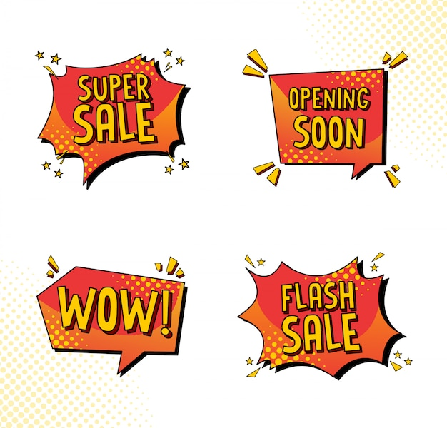 Sale speech bubble collection in comic style
